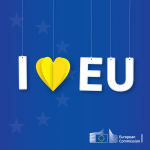 """I love EU med ett gult hjärta istället för ordet """"love"""""""