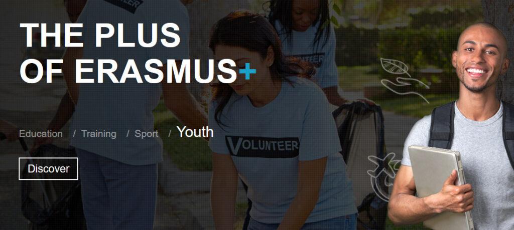 Skärmdump från EU-kommissionens hemsida om Erasmus+ med motiv av unga människor