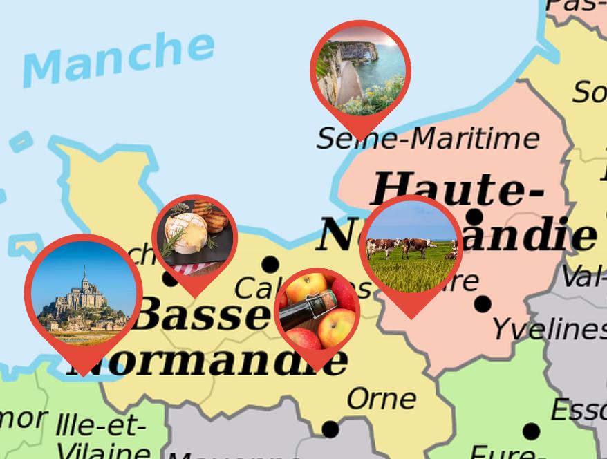 Karta över Normandie med olika aktiviteter utmärkta.
