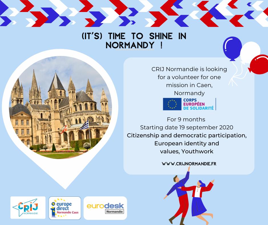 Bild från Normandie/Caen på ett slott. Information om praktik.
